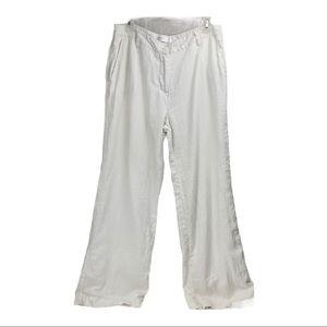 Isaac Mizrahi white lined linen pants 12